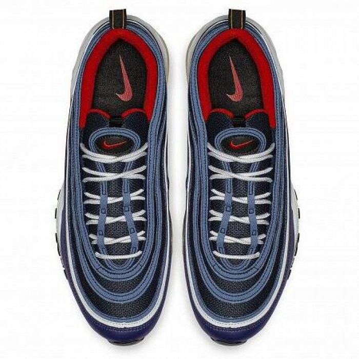 Кроссовки Nike AIR MAX 97 (Цвет Midnight Navy-Habanero Red-Black-White)