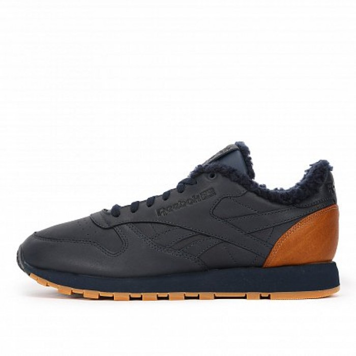 Кроссовки Reebok Classic CLASSIC LEATHER LOW SHERPA SPP (Цвет Black-Brown)
