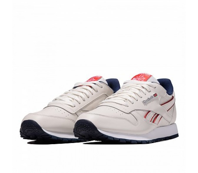 Кроссовки Reebok Classic CLASSIC LEATHER MU (Цвет Chalk-Navy-Red-White)