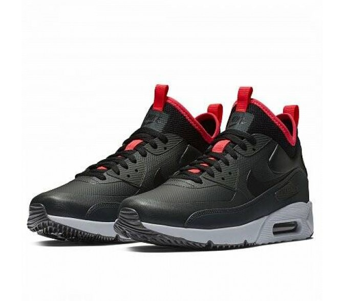 Кроссовки Nike AIR MAX 90 ULTRA MID WINTER (Цвет Anthracite-Black-Solar Red)