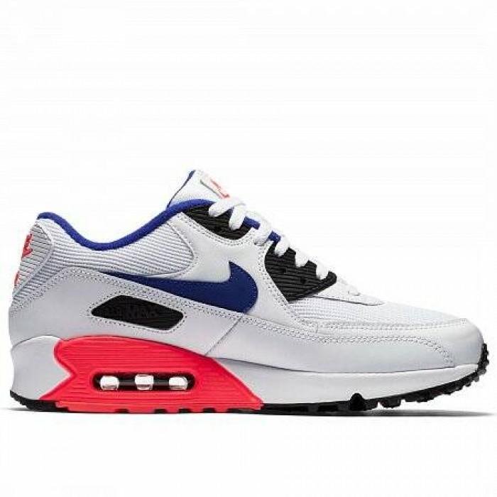 Кроссовки Nike AIR MAX 90 ESSENTIAL (Цвет White-Ultramarine-Solar Red-Black)