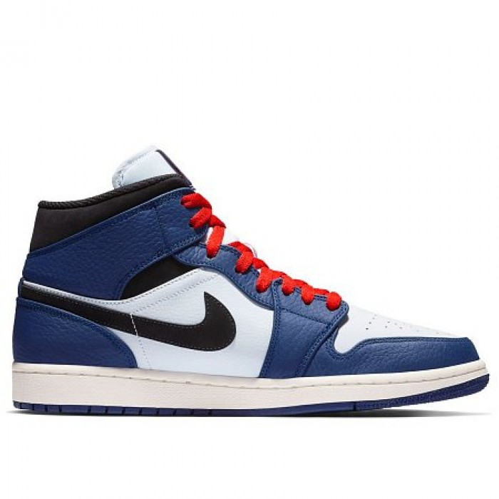 Кроссовки Jordan AIR JORDAN 1 MID SE (Цвет Deep Royal Blue-Black-Half Blue)