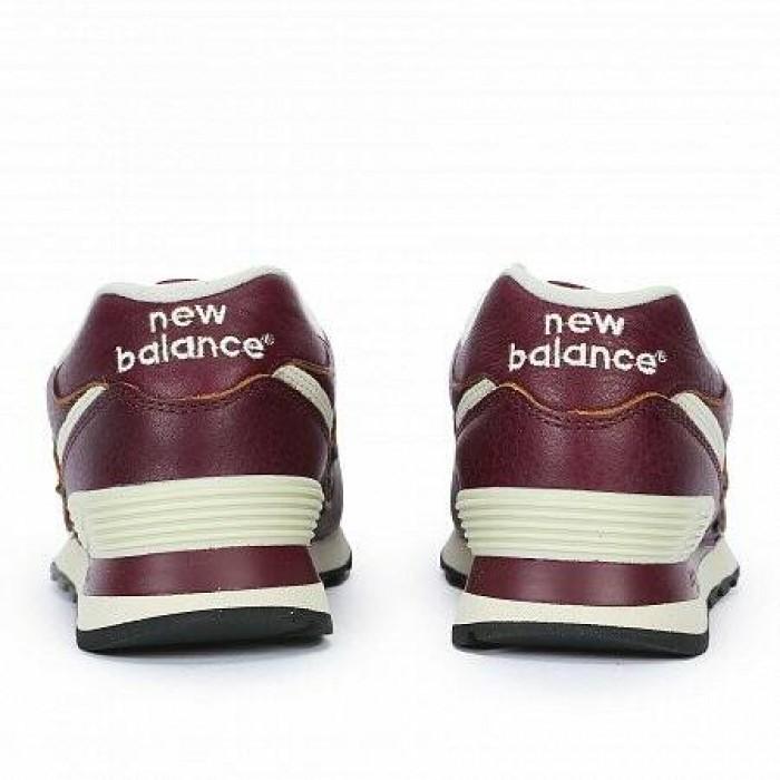 Кроссовки New Balance 574 LEATHER (Цвет Burgundy)