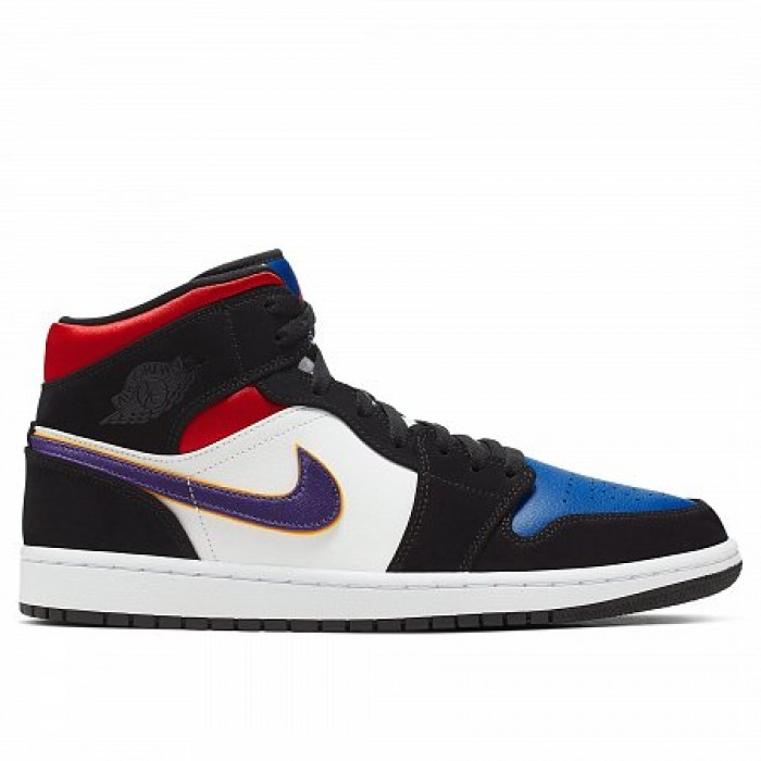 Кроссовки Jordan AIR JORDAN 1 MID SE  (Цвет Black-Field Purple-White-Gym Red)