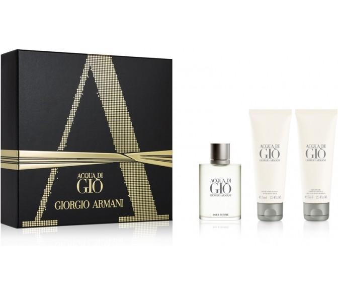 Подарочный набор Giorgio Armani  Acqua Di Gio (M) set ( 100ml edt+ 75 s/g+ 75 a/s/b)