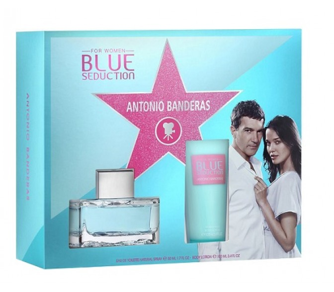 Подарочный набор Antonio Banderas Blue Seduction (L) set (100ml edt+b/l 100ml
