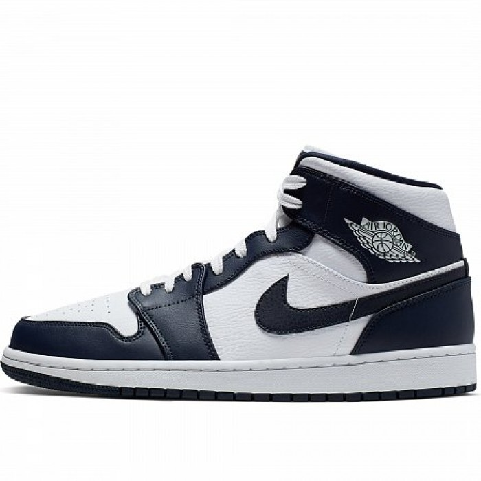 Кроссовки Jordan AIR JORDAN 1 MID (Цвет White-Metallic Gold-Obsidian)