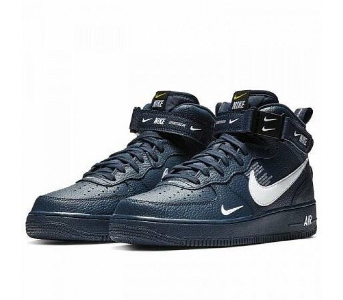 Кроссовки Nike AIR FORCE 1 MID '07 LV8 (Цвет Obsidian-White-Black-Tour Yellow)