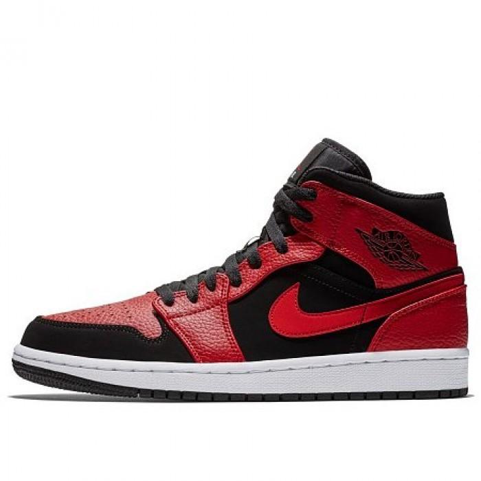 Кроссовки Jordan AIR JORDAN 1 MID (Цвет Black-Gym Red-White)